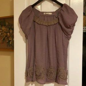 Purple Flowy Shirt by Solitaire - NWOT